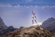 BGP Jumping for joy in Masca, Tenerife