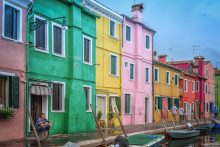 BGP Watching the world go by on the island of  Burano, Venice, Italy