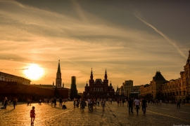 Sun set over Red Square in Moscow, Russia