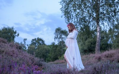 Maternity shoot amongst the heather at Petworth, West Sussex